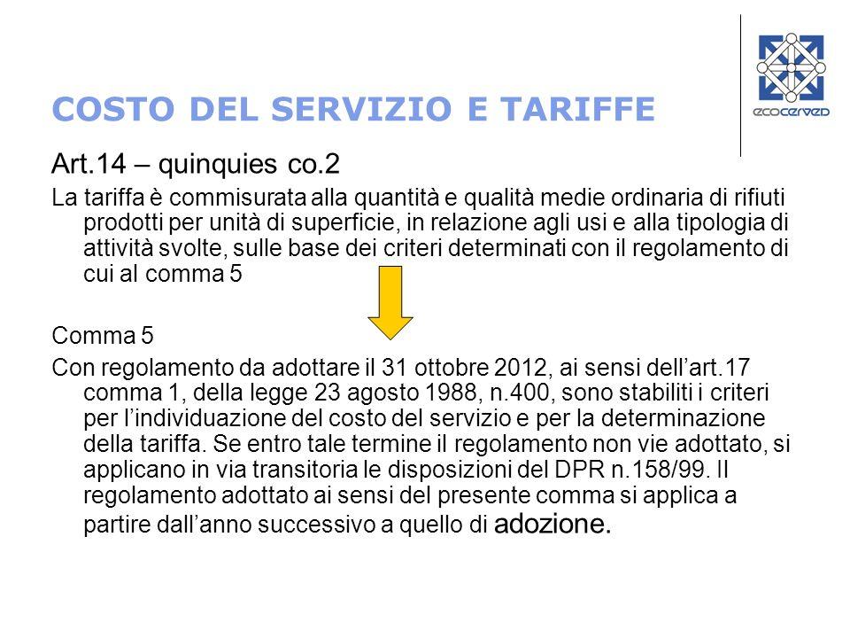 COSTO DEL SERVIZIO E TARIFFE Art.14 – quinquies co.2 La tariffa è commisurata alla quantità e qualità medie ordinaria di rifiuti prodotti per unità di