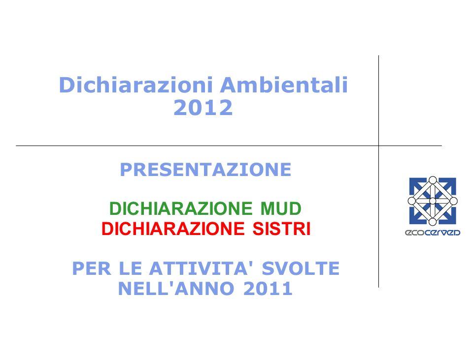 Dichiarazioni Ambientali 2012 PRESENTAZIONE DICHIARAZIONE MUD DICHIARAZIONE SISTRI PER LE ATTIVITA' SVOLTE NELL'ANNO 2011