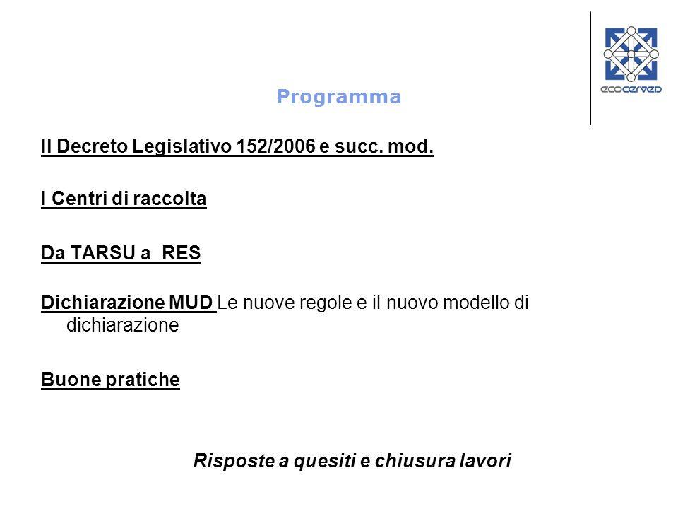 Programma Il Decreto Legislativo 152/2006 e succ. mod. I Centri di raccolta Da TARSU a RES Dichiarazione MUD Le nuove regole e il nuovo modello di dic