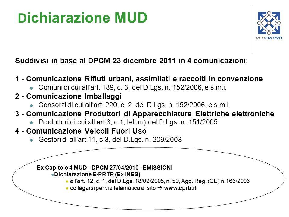 Suddivisi in base al DPCM 23 dicembre 2011 in 4 comunicazioni: 1 - Comunicazione Rifiuti urbani, assimilati e raccolti in convenzione Comuni di cui al