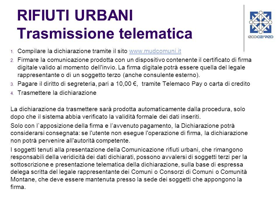 RIFIUTI URBANI Trasmissione telematica 1. Compilare la dichiarazione tramite il sito www.mudcomuni.itwww.mudcomuni.it 2. Firmare la comunicazione prod