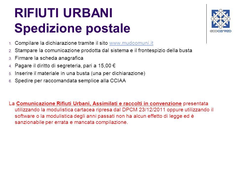 RIFIUTI URBANI Spedizione postale 1. Compilare la dichiarazione tramite il sito www.mudcomuni.itwww.mudcomuni.it 2. Stampare la comunicazione prodotta