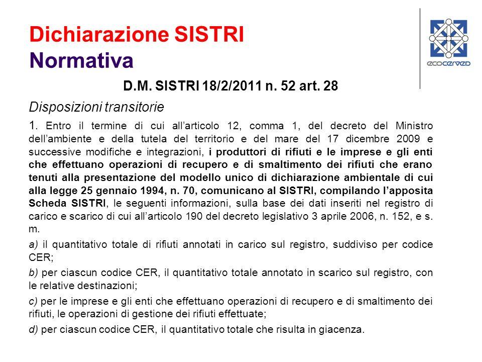 D.M. SISTRI 18/2/2011 n. 52 art. 28 Disposizioni transitorie 1. Entro il termine di cui allarticolo 12, comma 1, del decreto del Ministro dellambiente