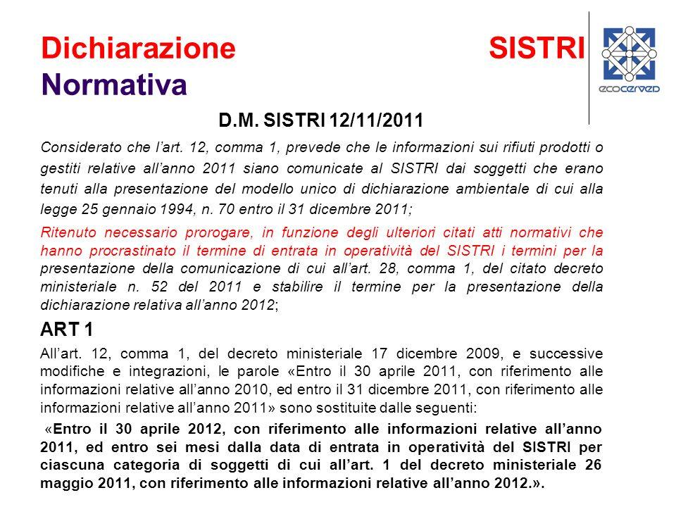 D.M. SISTRI 12/11/2011 Considerato che lart. 12, comma 1, prevede che le informazioni sui rifiuti prodotti o gestiti relative allanno 2011 siano comun