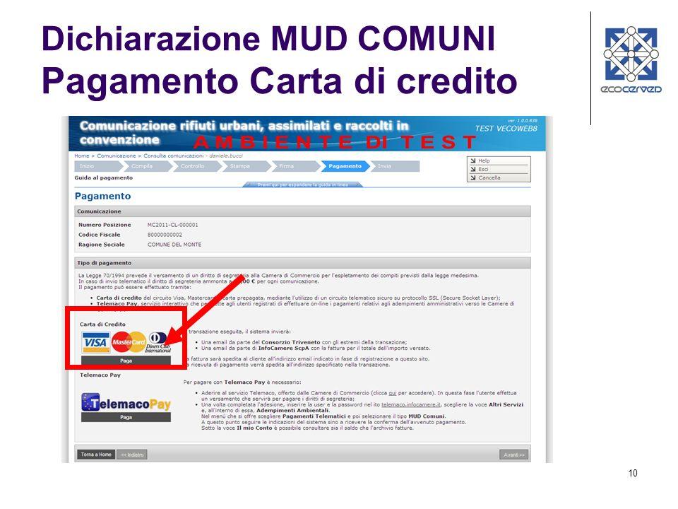 11 Dichiarazione MUD COMUNI Pagamento Carta di credito