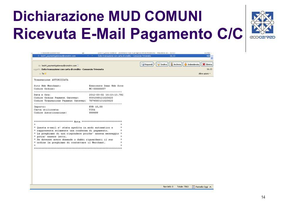 14 Dichiarazione MUD COMUNI Ricevuta E-Mail Pagamento C/C