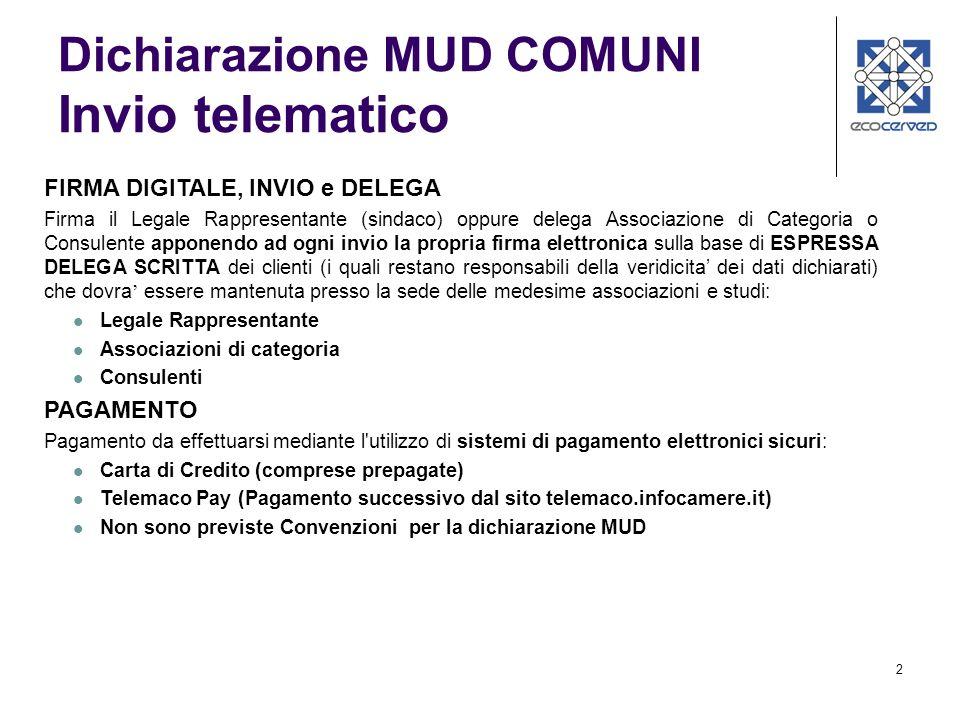 3 Dichiarazione MUD COMUNI Generazione della Stampa Stampa riepilogativa per il controllo dei dati inseriti.