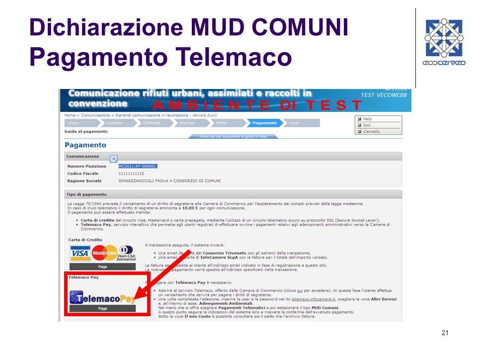 21 Dichiarazione MUD COMUNI Pagamento Telemaco