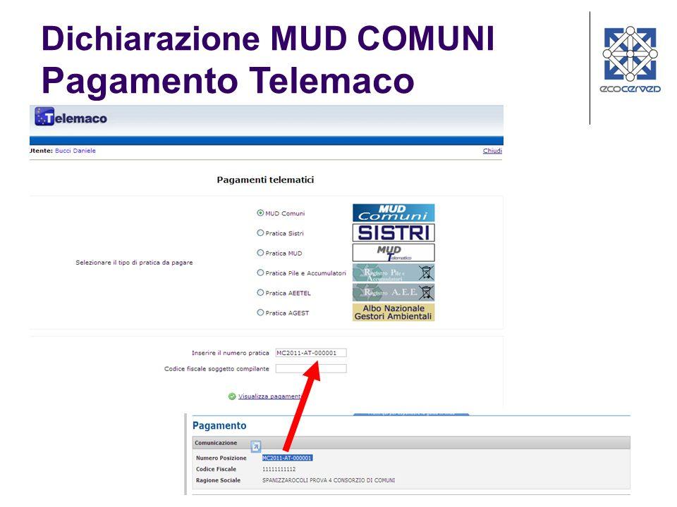 22 Dichiarazione MUD COMUNI Pagamento Telemaco