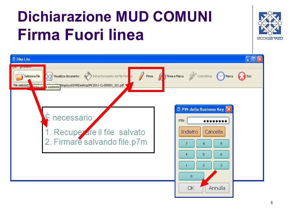 9 1. Caricare il file.p7m 2. Esegui Upload e verifica Dichiarazione MUD COMUNI Firma Fuori linea