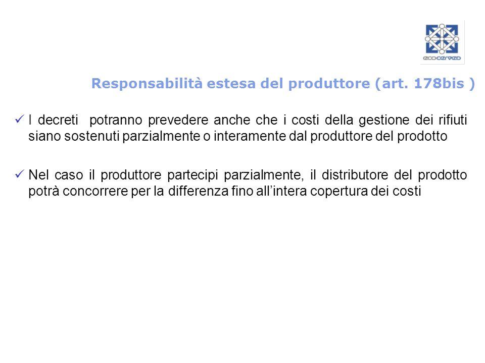 Responsabilità estesa del produttore (art. 178bis ) I decreti potranno prevedere anche che i costi della gestione dei rifiuti siano sostenuti parzialm