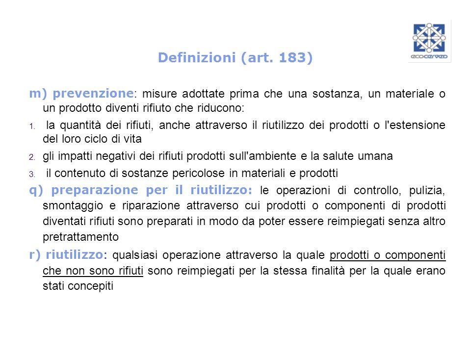 Definizioni (art. 183) m) prevenzione : misure adottate prima che una sostanza, un materiale o un prodotto diventi rifiuto che riducono: 1. la quantit
