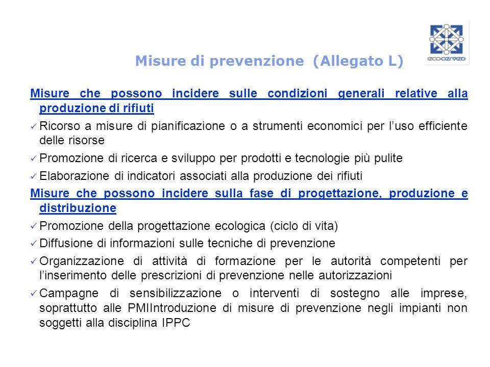 Misure di prevenzione (Allegato L) Misure che possono incidere sulle condizioni generali relative alla produzione di rifiuti Ricorso a misure di piani