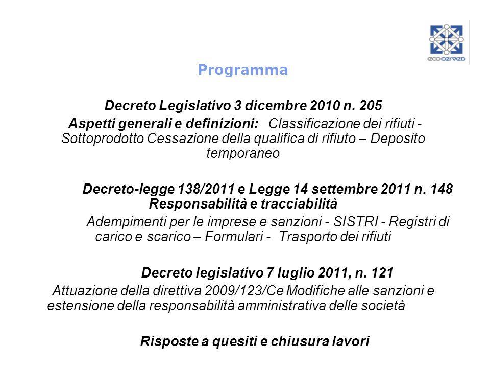 Programma Decreto Legislativo 3 dicembre 2010 n. 205 Aspetti generali e definizioni: Classificazione dei rifiuti - Sottoprodotto Cessazione della qual