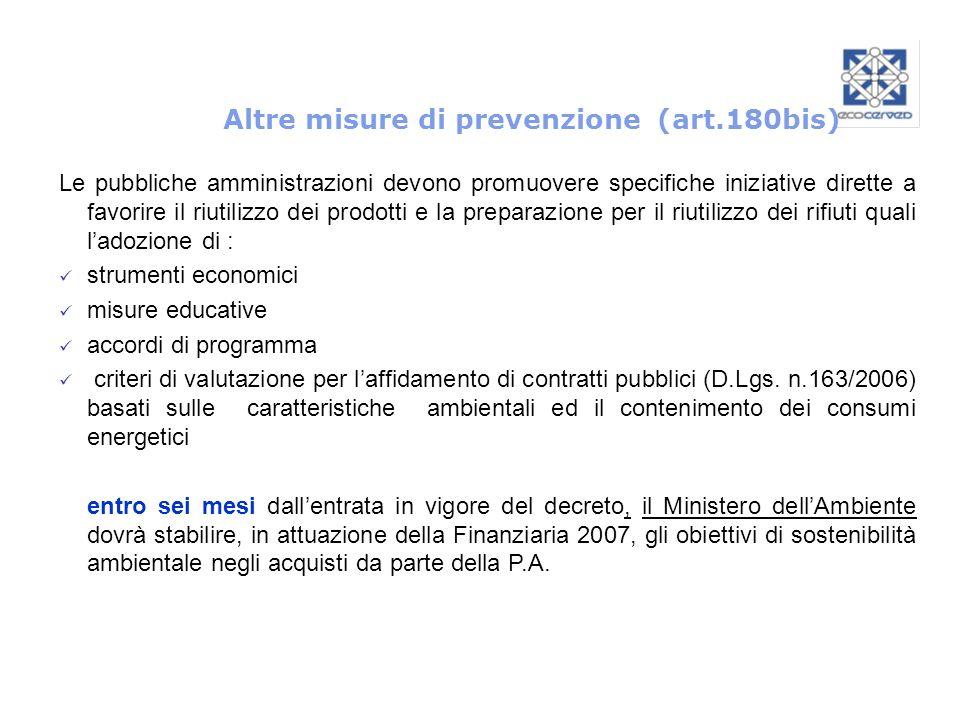Altre misure di prevenzione (art.180bis) Le pubbliche amministrazioni devono promuovere specifiche iniziative dirette a favorire il riutilizzo dei pro