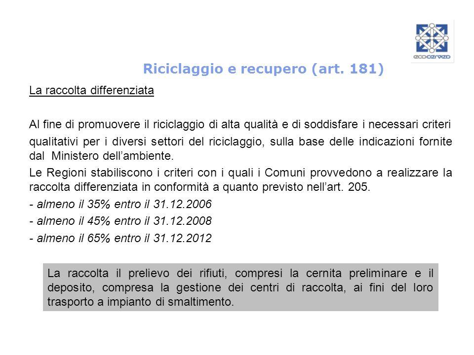 Riciclaggio e recupero (art. 181) La raccolta il prelievo dei rifiuti, compresi la cernita preliminare e il deposito, compresa la gestione dei centri