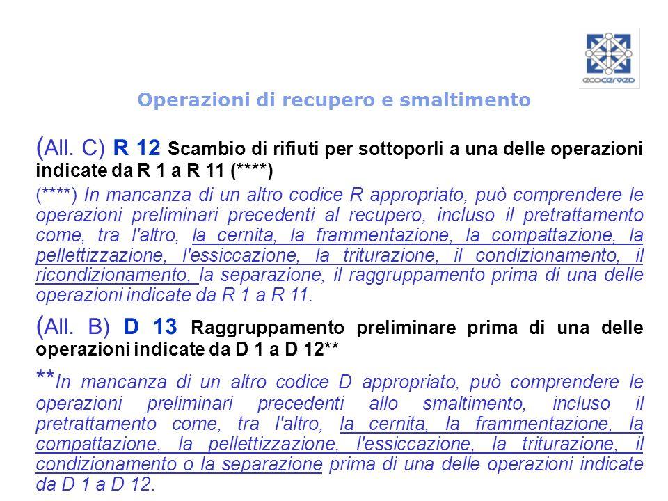 Operazioni di recupero e smaltimento ( All. C) R 12 Scambio di rifiuti per sottoporli a una delle operazioni indicate da R 1 a R 11 (****) (****) In m