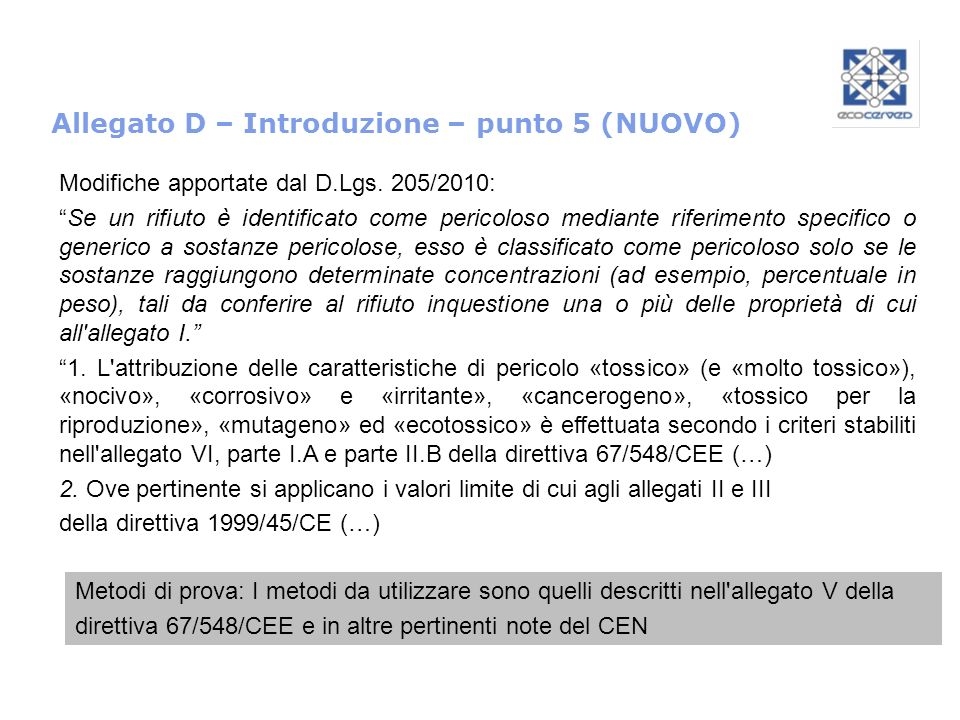 Allegato D – Introduzione – punto 5 (NUOVO) Modifiche apportate dal D.Lgs. 205/2010: Se un rifiuto è identificato come pericoloso mediante riferimento
