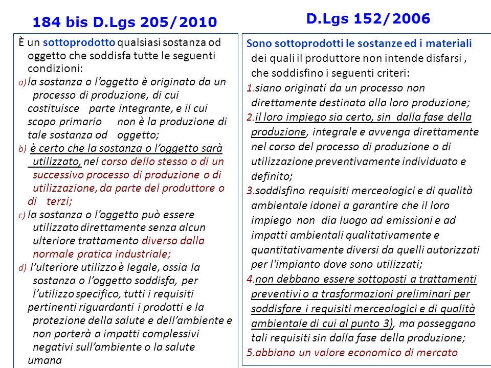 184 bis D.Lgs 205/2010 È un sottoprodotto qualsiasi sostanza od oggetto che soddisfa tutte le seguenti condizioni: a) la sostanza o loggetto è origina
