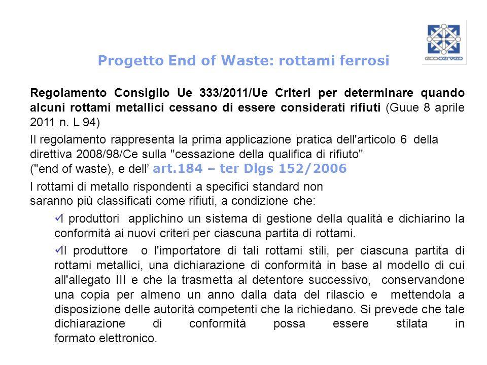 Progetto End of Waste: rottami ferrosi Regolamento Consiglio Ue 333/2011/Ue Criteri per determinare quando alcuni rottami metallici cessano di essere