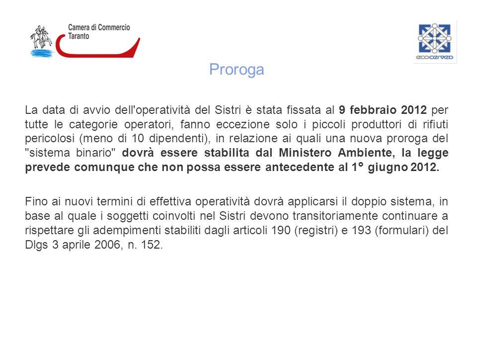 Proroga La data di avvio dell'operatività del Sistri è stata fissata al 9 febbraio 2012 per tutte le categorie operatori, fanno eccezione solo i picco