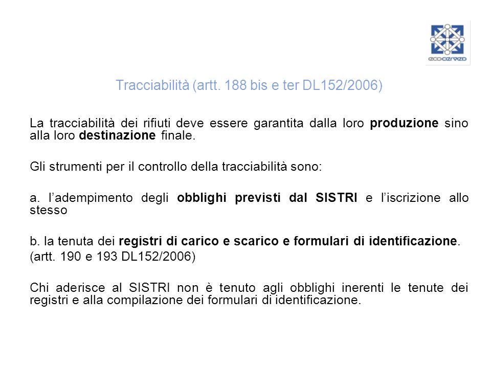 Tracciabilità (artt. 188 bis e ter DL152/2006) La tracciabilità dei rifiuti deve essere garantita dalla loro produzione sino alla loro destinazione fi