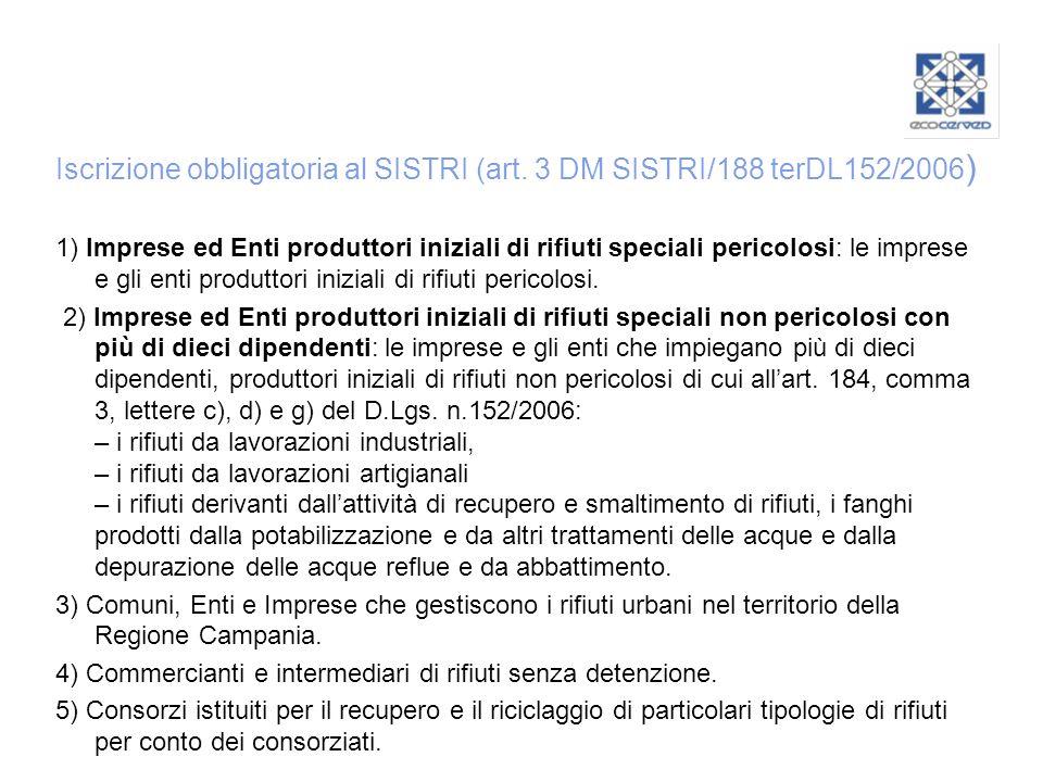 Iscrizione obbligatoria al SISTRI (art. 3 DM SISTRI/188 terDL152/2006 ) 1) Imprese ed Enti produttori iniziali di rifiuti speciali pericolosi: le impr