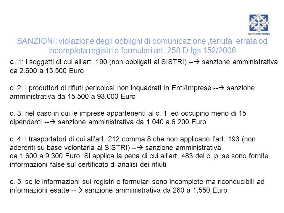 SANZIONI: violazione degli obblighi di comunicazione,tenuta errata od incompleta registri e formulari art. 258 D.lgs 152/2006 c. 1: i soggetti di cui
