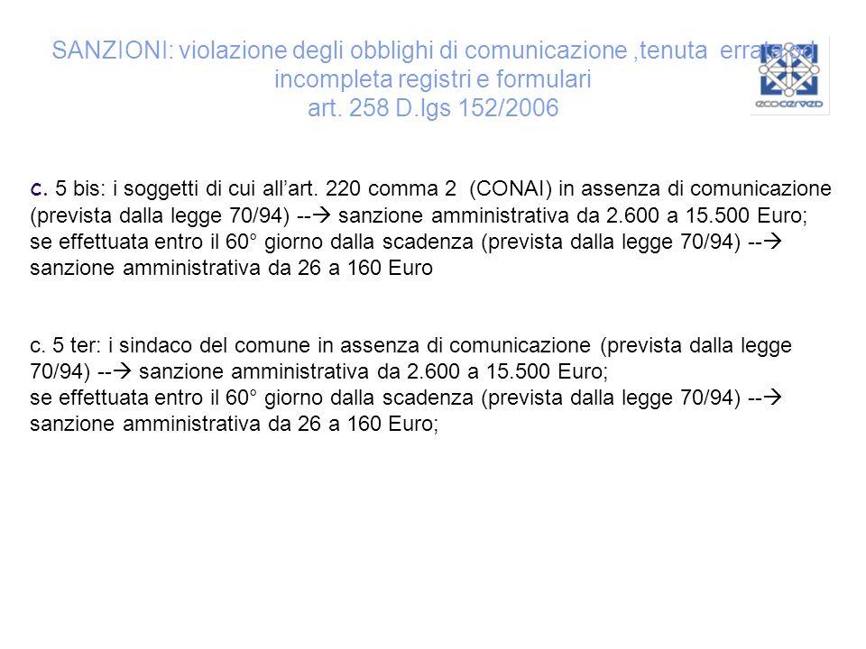SANZIONI: violazione degli obblighi di comunicazione,tenuta errata od incompleta registri e formulari art. 258 D.lgs 152/2006 c. 5 bis: i soggetti di