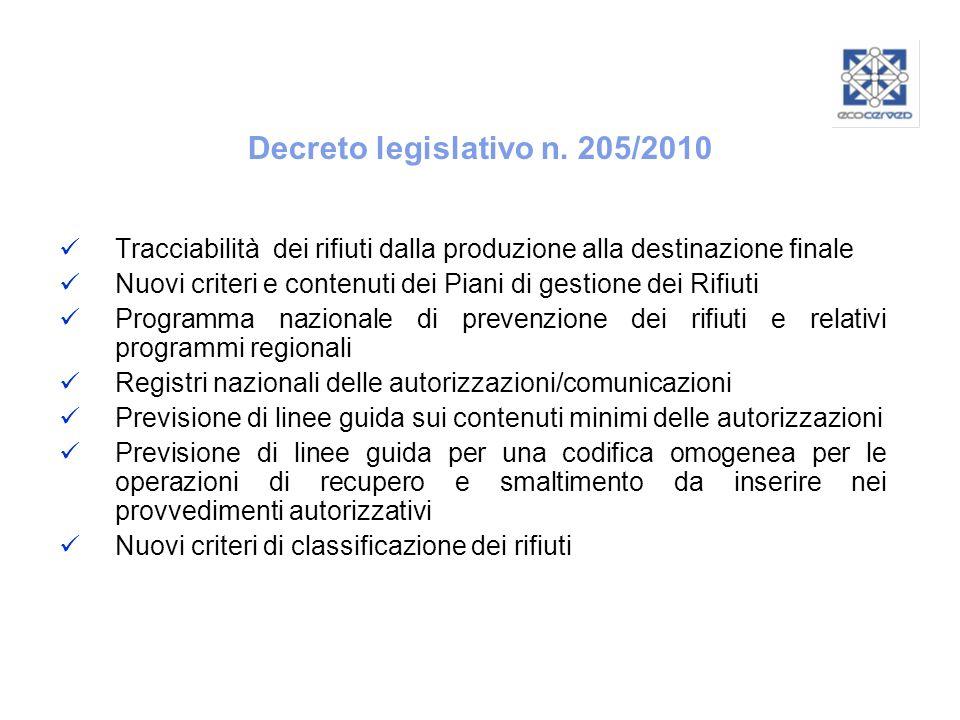 Decreto legislativo n. 205/2010 Tracciabilità dei rifiuti dalla produzione alla destinazione finale Nuovi criteri e contenuti dei Piani di gestione de