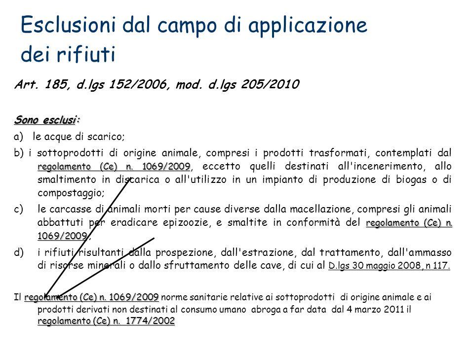 Esclusioni dal campo di applicazione dei rifiuti Art. 185, d.lgs 152/2006, mod. d.lgs 205/2010 Sono esclusi: a) le acque di scarico; regolamento (Ce)