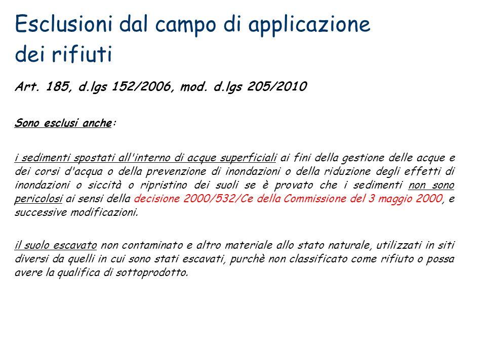 Esclusioni dal campo di applicazione dei rifiuti Art. 185, d.lgs 152/2006, mod. d.lgs 205/2010 Sono esclusi anche: i sedimenti spostati all'interno di