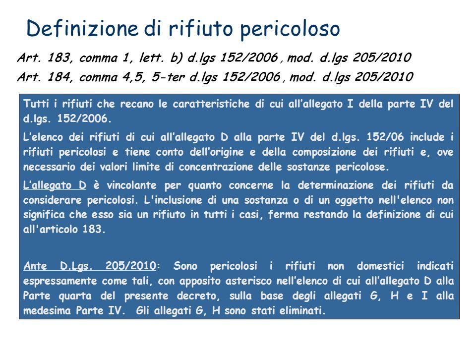 Definizione di rifiuto pericoloso Tutti i rifiuti che recano le caratteristiche di cui allallegato I della parte IV del d.lgs. 152/2006. Lelenco dei r