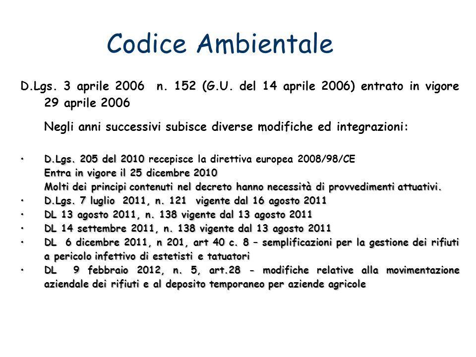 Codice Ambientale D.Lgs. 3 aprile 2006 n. 152 (G.U. del 14 aprile 2006) entrato in vigore 29 aprile 2006 Negli anni successivi subisce diverse modific