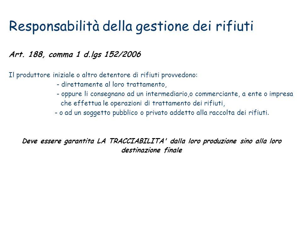 Responsabilità della gestione dei rifiuti Art. 188, comma 1 d.lgs 152/2006 Il produttore iniziale o altro detentore di rifiuti provvedono: - direttame