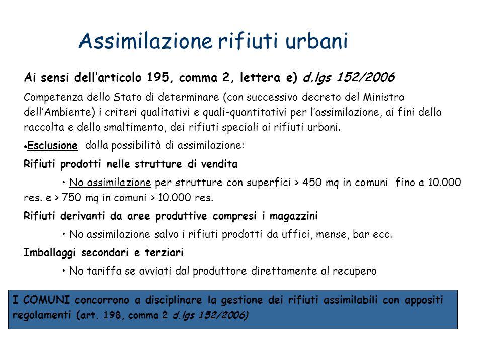 Assimilazione rifiuti urbani Ai sensi dellarticolo 195, comma 2, lettera e) d.lgs 152/2006 Competenza dello Stato di determinare (con successivo decre