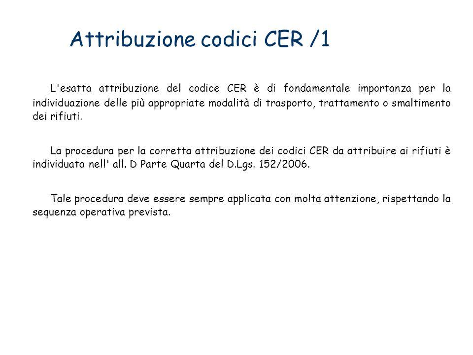 Attribuzione codici CER /1 L'esatta attribuzione del codice CER è di fondamentale importanza per la individuazione delle più appropriate modalità di t