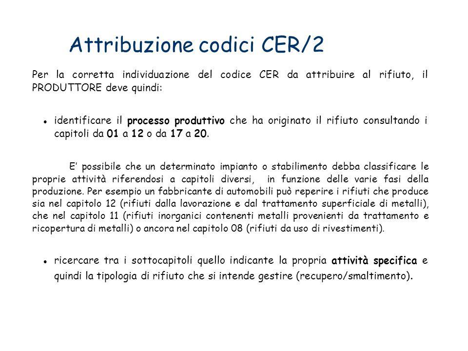 Attribuzione codici CER/2 Per la corretta individuazione del codice CER da attribuire al rifiuto, il PRODUTTORE deve quindi: identificare il processo