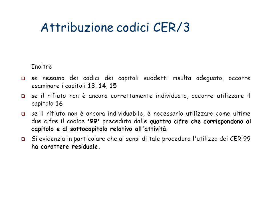 Attribuzione codici CER/3 Inoltre se nessuno dei codici dei capitoli suddetti risulta adeguato, occorre esaminare i capitoli 13, 14, 15 se il rifiuto