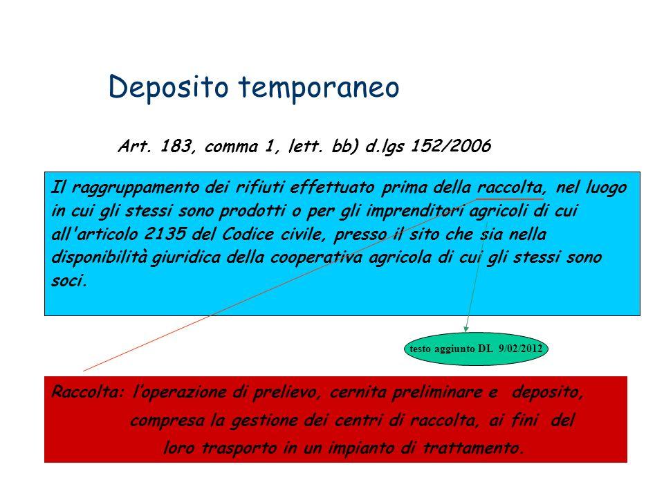 Deposito temporaneo Art. 183, comma 1, lett. bb) d.lgs 152/2006 Il raggruppamento dei rifiuti effettuato prima della raccolta, nel luogo in cui gli st