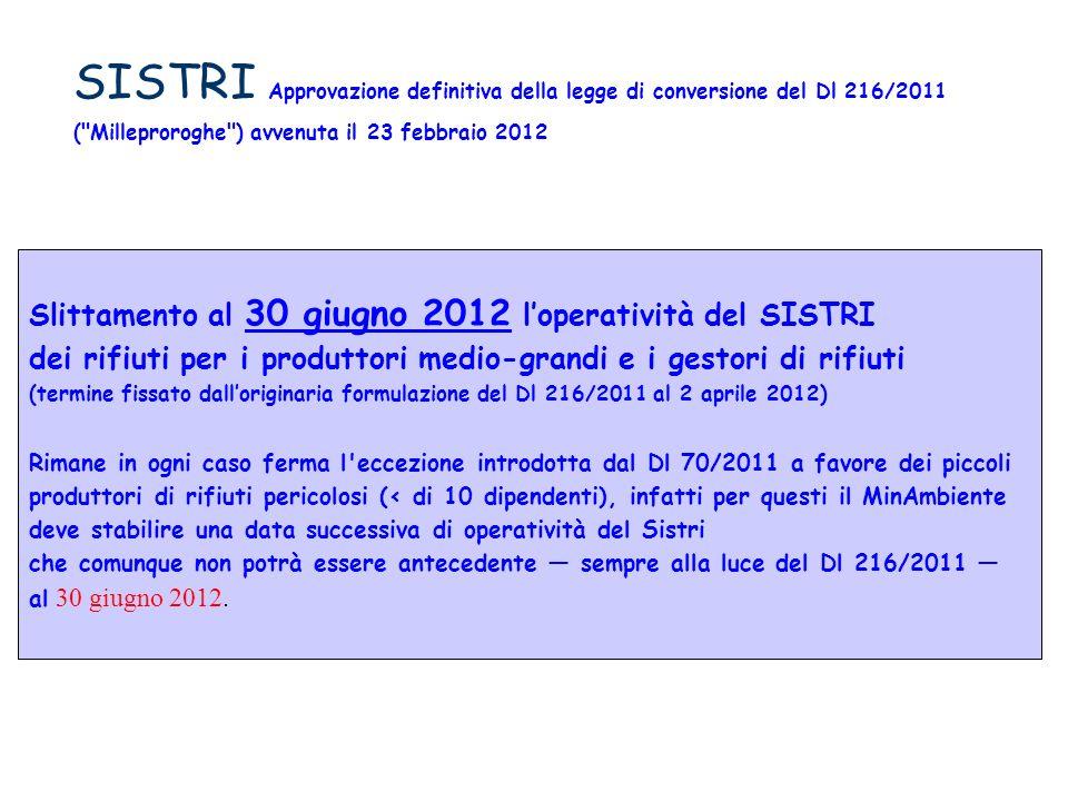 SISTRI Approvazione definitiva della legge di conversione del Dl 216/2011 (
