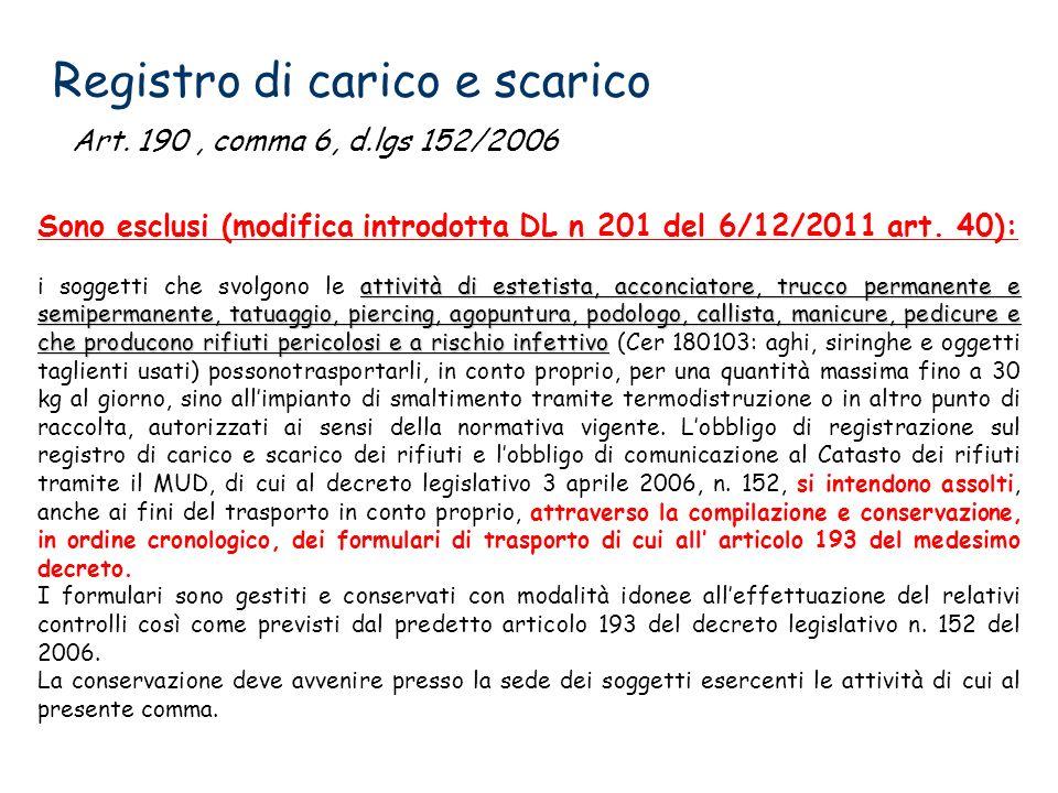 Registro di carico e scarico Art. 190, comma 6, d.lgs 152/2006 Sono esclusi (modifica introdotta DL n 201 del 6/12/2011 art. 40): attività di estetist