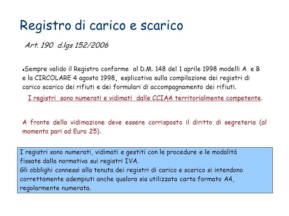 Registro di carico e scarico Sempre valido il Registro conforme al D.M. 148 del 1 aprile 1998 modelli A e B e la CIRCOLARE 4 agosto 1998, esplicativa