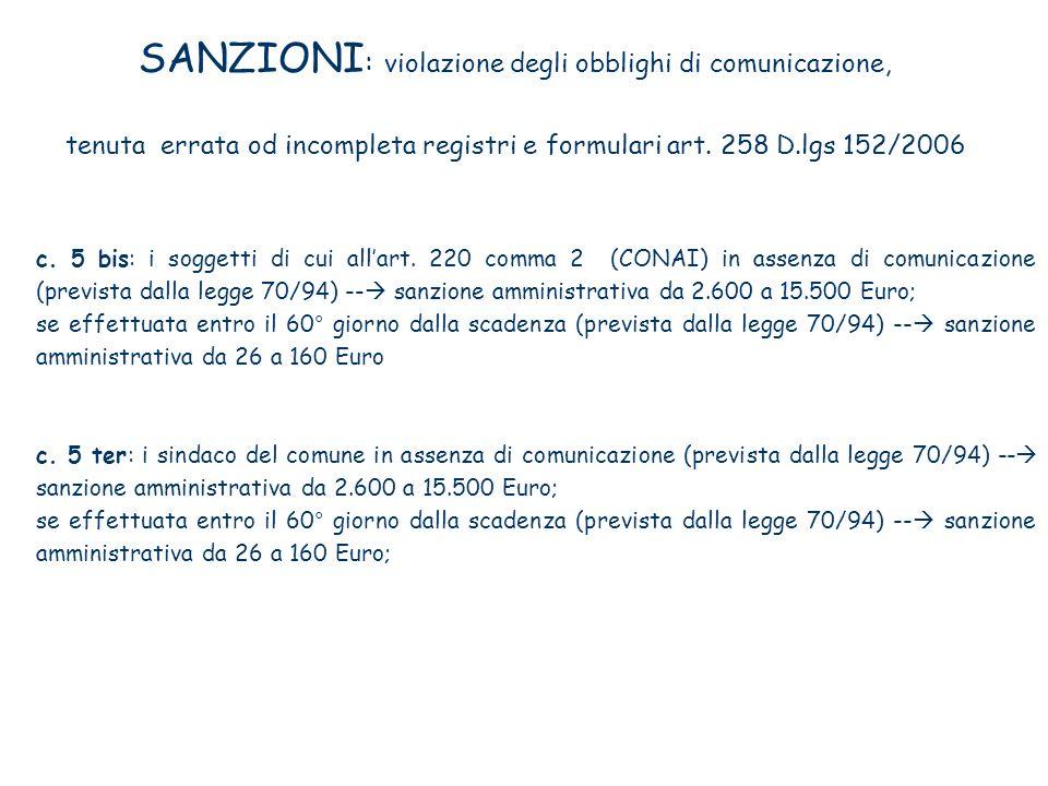 SANZIONI : violazione degli obblighi di comunicazione, tenuta errata od incompleta registri e formulari art. 258 D.lgs 152/2006 c. 5 bis: i soggetti d