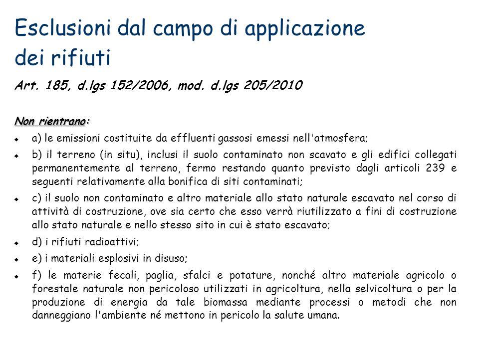 Esclusioni dal campo di applicazione dei rifiuti Art. 185, d.lgs 152/2006, mod. d.lgs 205/2010 Non rientrano: a) le emissioni costituite da effluenti