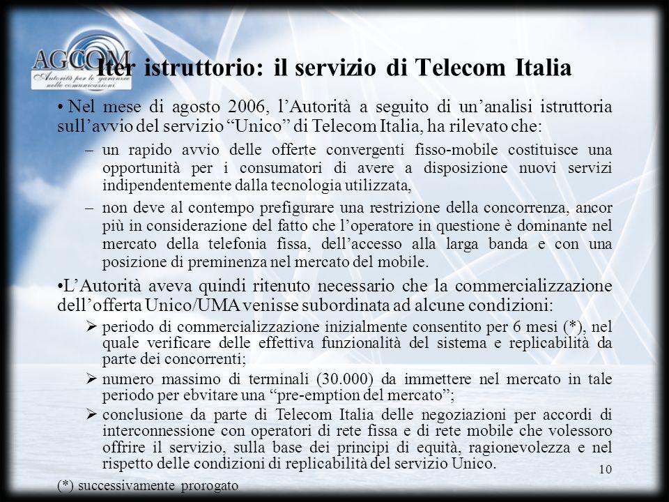 10 Iter istruttorio: il servizio di Telecom Italia Nel mese di agosto 2006, lAutorità a seguito di unanalisi istruttoria sullavvio del servizio Unico
