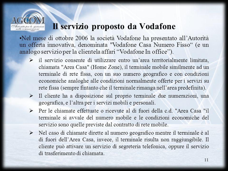 11 Il servizio proposto da Vodafone Nel mese di ottobre 2006 la società Vodafone ha presentato allAutorità un offerta innovativa, denominata