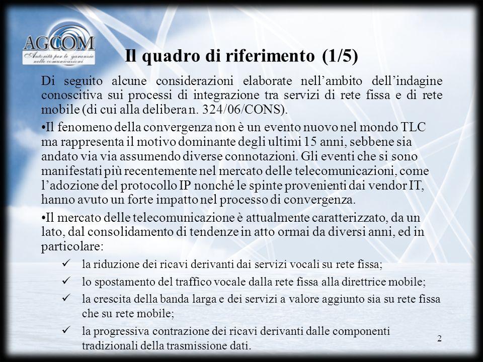 2 Il quadro di riferimento (1/5) Di seguito alcune considerazioni elaborate nellambito dellindagine conoscitiva sui processi di integrazione tra servi