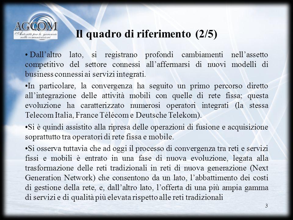 3 Il quadro di riferimento (2/5) Dallaltro lato, si registrano profondi cambiamenti nellassetto competitivo del settore connessi allaffermarsi di nuov