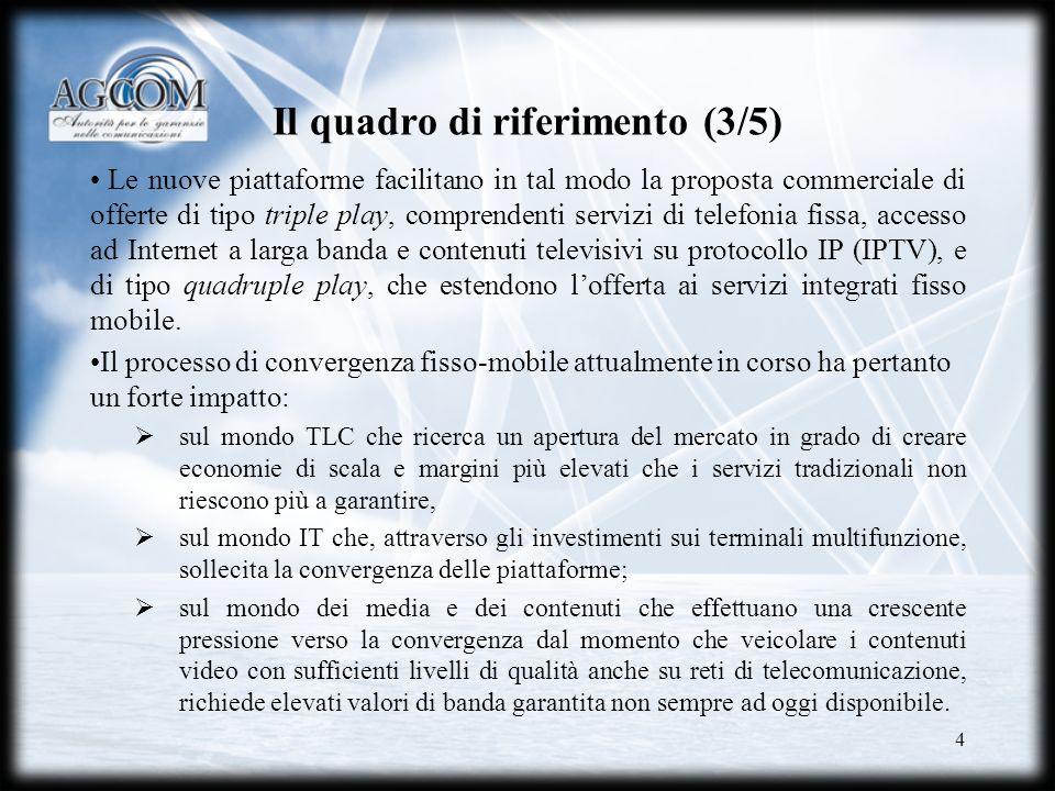 4 Il quadro di riferimento (3/5) Le nuove piattaforme facilitano in tal modo la proposta commerciale di offerte di tipo triple play, comprendenti serv